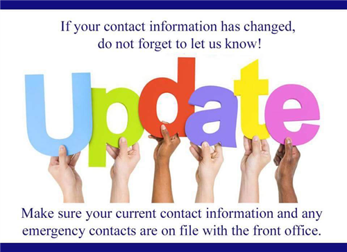 Please notify us of information changes.