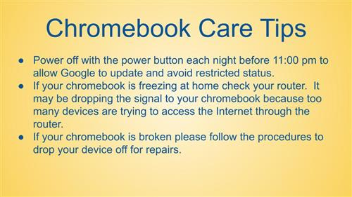 Chromebook Care Tips