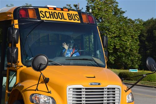 KCSD Bus Driver waves to students