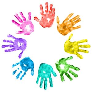 Children's colorful handprints in a circle