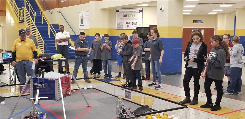 The KC Robotics team in competition
