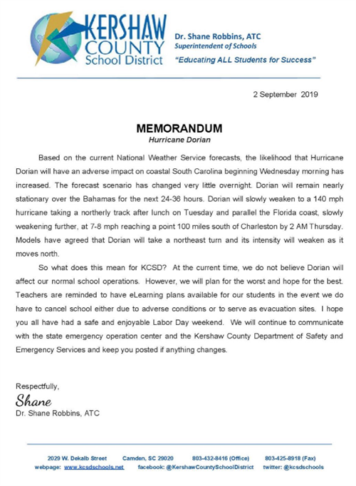 Memorandum on Hurricane Dorian