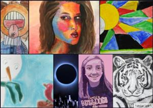 Collage of student artwork