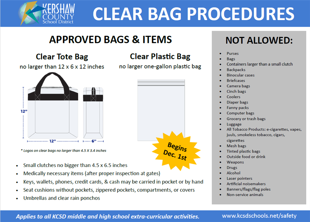 KCSD Clear Bag Policy