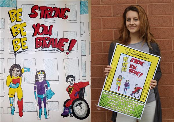 Lugoff-Elgin High senior Katie Flowers' super hero design is the Special Olympics poster.