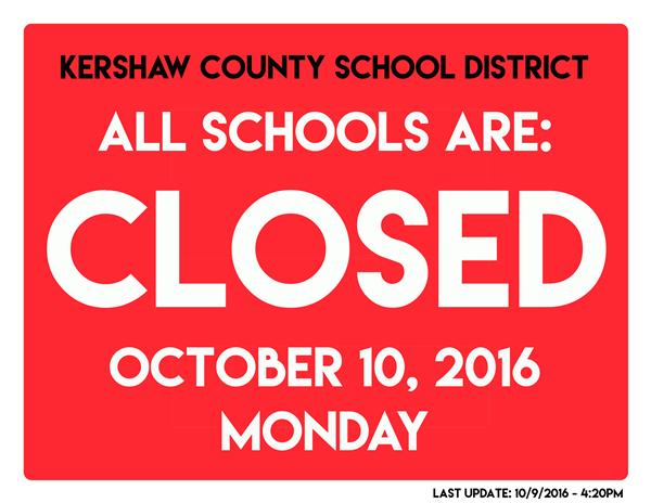 Kershaw County School District schools closed on Monday, Oct. 10