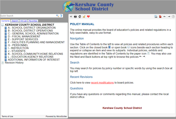 Board Policy Manual Screenshot