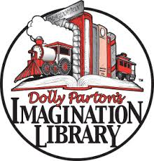 A picture of a train coming out of a book. With a Logo that reads Dolly Partons Imagination Library.