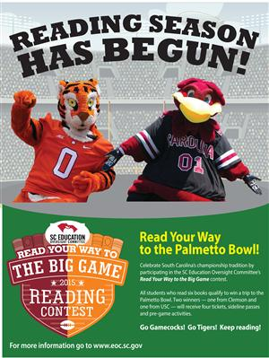 Choose a team and read 6 books to enter to win 4 tickets to the Palmetto Bowl - Carolina vs. Clemson!