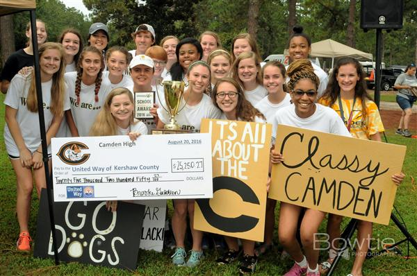 Camden High School students celebrate raising over $25,000 for the United Way of Kershaw County.